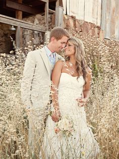 Bride and Groom in Tall Grass (anything similar would work!). Super cute pose and setting!!!!!