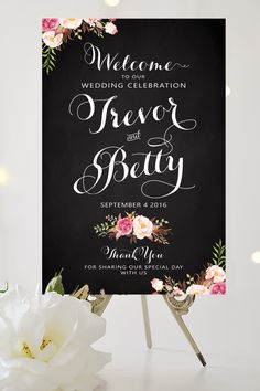 Wedding Welcome Sign - Large Wedding Poster - Romantic Blooms - Vintage Chalkboard - Personalized - I Create and You Print by CharmingEndeavours on Etsy https://www.etsy.com/au/listing/270261694/wedding-welcome-sign-large-wedding