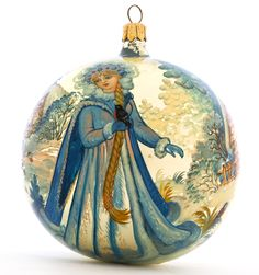 Russian Snowgirl - collectible glass lacquer painted ornament