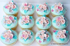 Pink & Teal Cupcakes - Cake by Jo Finlayson (Jo Takes the Cake)