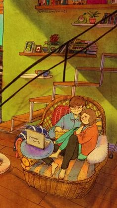 Small Cinema By Puuung, de amor Small Cinema By Puuung Love Cartoon Couple, Cute Couple Art, Cute Couples, Anime Couples, Love Is Sweet, Cute Love, Couple Illustration, Illustration Art, Puuung Love Is