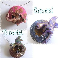 Dragon pendant tutorial made of polymer clay by Lavilia on Etsy