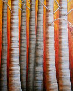 Birch tree painting, original forest artwork by Nancy Quiaoit at NancyQart. Nature art.