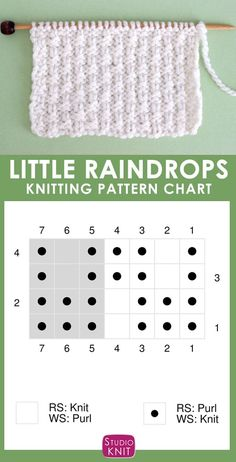 The Little Raindrops Stitch Knitting Pattern creates a reversible pattern of small vertical lines. Get free written pattern with knitting chart. Baby Knitting Patterns, Knitting Stiches, Knitting Charts, Easy Knitting, Knitting For Beginners, Loom Knitting, Knitting Designs, Knitting Projects, Stitch Patterns