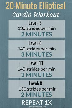 This 20 Minute Cardio Elliptical Workout uses intervals to give you the best elliptical workout you've ever tried!