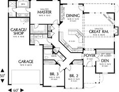 Love the curb appeal, 2000 sq. ft., 3 car garage, 4th bedroom in the basement BUT drawing has a den + 3 bedrooms. Nice layout! Odd pantry location. http://www.architecturaldesigns.com/house-plan-6930AM.asp#: