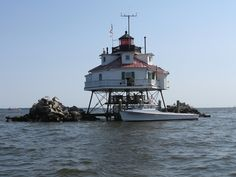 The Thomas Point lighthouse is the most recognizable lighthouse on the Chesapeake Bay and was manned until 1986.