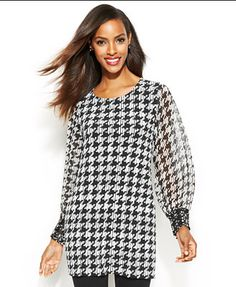 Alfani Faux-Leather-Trim Houndstooth Tunic