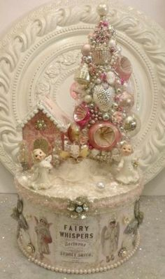 Vintage Angel Ornaments Bottle Brush Tree Box Pink Stripe Cameo Cluster Earring | eBay