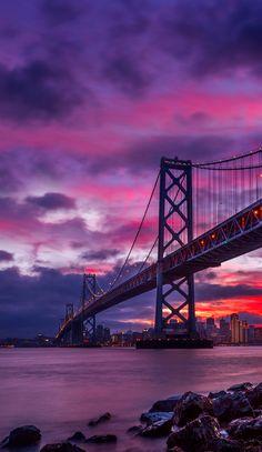 Bay Bridge at dawn. City Wallpaper, Nature Wallpaper, Galaxy Wallpaper, Wallpaper Backgrounds, Iphone Wallpapers, Bridge Wallpaper, Huawei Wallpapers, Amazing Wallpaper, Beautiful Sky