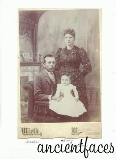Charles and Lucy Thurman Hollingsworth, with daughter Bessie. [Photographer's] name was Wirth, taken in Medford, OR.  (Image:  Courtesy of Ancient Faces, http://www.ancientfaces.com/research/photo/361897/hollingsworth-family-family-photo )