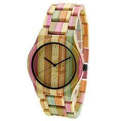 BEWELL Women Wood Watch Handmade Natural Colorful Bamboo Quartz Wristwatch Design Luxury Casual Watches for Female Modern Watches, Casual Watches, Women's Watches, Analog Watches, Pocket Watches, Jewelry Watches, Bewell Wood Watch, Mens Designer Watches, Mesh Bracelet
