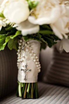 Love this for a Catholic wedding bouquet! I would love to use the rosary that I've had since I was a little girl
