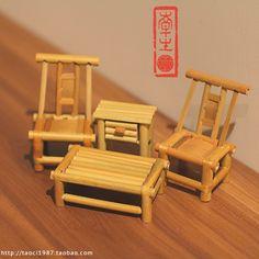 Zakka mini modelo mobiliário antigo de cores pequeno de cadeira / fezes decoração família de quatro(China (Mainland))