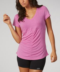 Another great find on #zulily! Heather Orchid Ruched V-Neck Tee by Marika #zulilyfinds