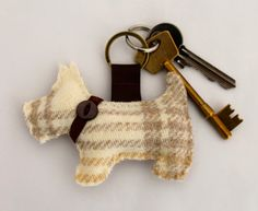 Scottie Dog Keyring in Tweed  Pink Purple Blue by DaisyBelleShop