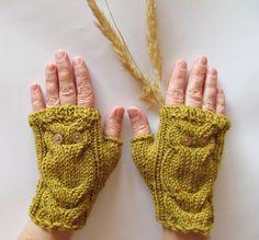 Mustard yellow owl gloves