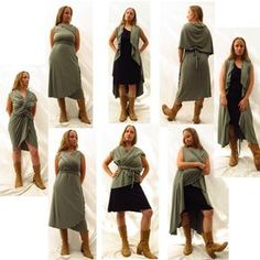 Wrap Dress - Over A Dozen Ways to Wear It - Made to Order - Organic Fabric. $90.00, via Etsy. (see also Packing, Mini-Wardrobe Multi-Use)
