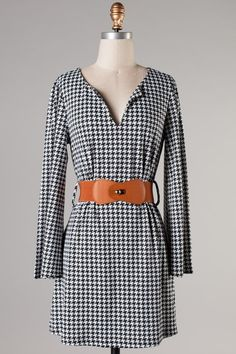 Houndstooth Dress With Belt- Belted Dress, Dress Up, Houndstooth Dress, Beautiful Dresses, Fashion Dresses, Cute Outfits, Boutique, My Style, Lady