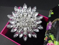 Large Wedding Brooch Rhinestone Brooch Pin by LoveMeLoveYourself