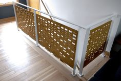 We made this morse code railing using our Shopbot CNC router.