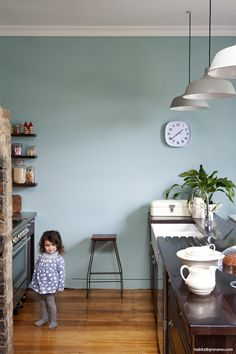 The walls of this dreamy kitchen are painted in Resene Sea Nymph, and the rest of the country homestead is just as stunning.  From 'New Zealand Interior Style' by LeeAnn Yare and Larnie Nicolson.