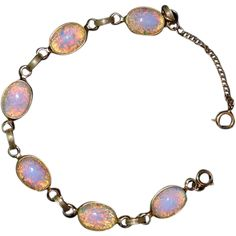 Iridescent Simulated Opal Art Glass Cabochon Bracelet