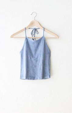 Dusty Blue Tie Dyed Halter Crop Top from NYCT