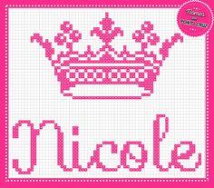 Nome Nicole com Coroa em Ponto Cruz Altura do Nome: 20 pontos        Altura da Coroa: 29 pontos