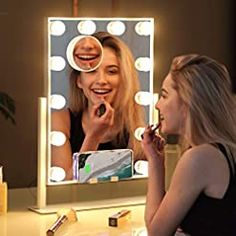 Misavanity Large Hollywood Vanity Makeup Mirror with Wireless Charger, Lighted Makeup Mirror with Lights and 10X… Bulb Mirror, Lighted Wall Mirror, Wall Mirrors, Hollywood Mirror With Lights, Makeup Mirror With Lights, Hollywood Vanity, Best Anniversary Gifts, Gifts For Your Girlfriend, Can Lights
