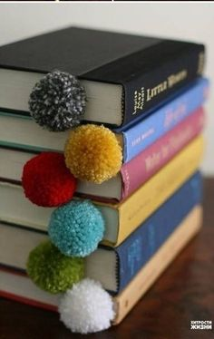These DIY pop-pom bookmarks are simple but adorable.
