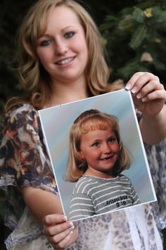 This would be great for Grayson's senior pics...Had her bring a Kindergarten picture in. Turned out great!