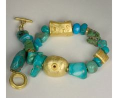 Alexandra Watkins Turquoise necklace with hand fabricated 18k and 22k gold beads