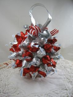Kiss me quick before all the chocolate is gone! Darling Chocolate kiss ornament made of Smoothfoam ball by Dawn Lotharius