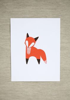 January Fox Indie Print | Modern Vintage Children Fun art project with simple…