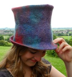 52c8c6f4f27 DIY wet felted top hat. Has a resist pattern. Previous pinner  Fibre of the  Month Project June Finnwool   Piiku Top Hats FeltersJourney