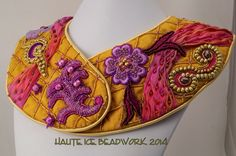 """Crazy Quilt Cozy Collar, February 2014 for the Etsy Beadweavers """"Warmth"""" challenge.  Using quilting, sewing, trapunto, applique, and beads to create jewelry that would actually be warm,"""