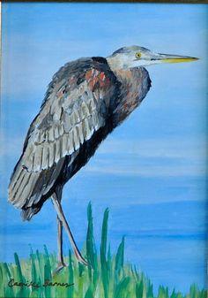 Original Painting 5 x 7 framed  Blue Heron, original oil painting - Framed, Louisiana scene. Water, wildlife. Realism art. Best Etsy shop for fine
