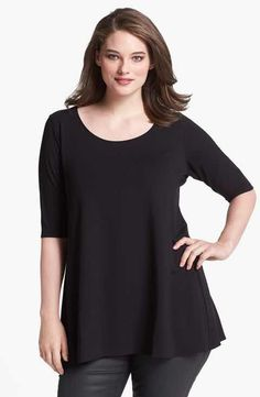 Eileen Fisher Scoop Neck Jersey Tunic (Plus Size)
