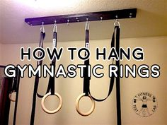 How to Hang Gymnastic Rings - Title and Featured Pic Homemade Workout Equipment, Diy Gym Equipment, Gymnastics Equipment, Crossfit Rings, Calisthenics Equipment, Calisthenics Workout, Crossfit Garage Gym, Diy Home Gym, Home Gym Design