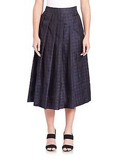 PAUW Box Pleated Check Skirt - Navy - Size