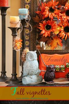 Fall vignettes with owls and sunflowers. Craft ideas. #debbiedoos