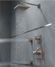 ✔ Constructed with the elegant silver aluminum panel for years of use ✔ 4 Stage shower functions: rainfall, horizontal massage spray, handheld shower, faucet water outlet ✔ Full rainfall coverage with the 50 top nozzles Room Tiles Design, Bathroom Tile Designs, Bathroom Design Small, Bathroom Interior Design, Modern Bathroom, Bathroom Ideas, Shower Designs, Contemporary Bathrooms, Bathroom Shower Panels