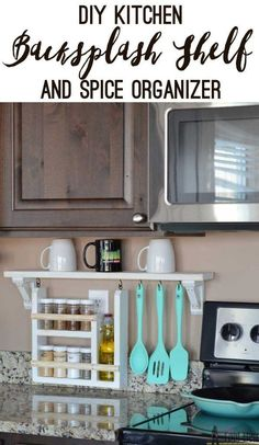Clear the countertop clutter and have all of your essential kitchen gadgets organized and handy. Free plans and tutorial to build a DIY kitchen backsplash shelf and spice organizer. #AllThingsKitchen