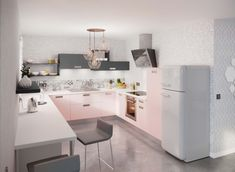 Modèle Nova loft, graphique et romantique Loft, Double Vanity, Bathroom, Kitchen, Table, Furniture, Home Decor, Pastel Colors, Kitchens