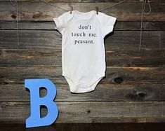 Cute infant bodysuits & onesies for boys and girls by GlitterBugCo Cute Bodysuits, Sarcastic Shirts, Dont Touch Me, Baby Bodysuit, Boy Onesie, Baby Grows, New Baby Gifts, New Baby Products