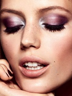 Esther Heesch by Mikael Schulz for Elle Sweden January 2017 Gorgeous violet metallic shadow look with light and dimension, and beautiful bold lashes-paired with a nude lip. If you are using a pastel type shade you want to add dimension in the crease area and with your liner.