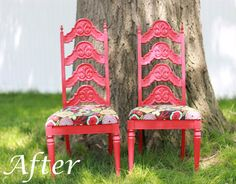 Old ugly brown chairs that were painted and recovered