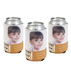 Childhood Cancer Awareness Custom Photo Can Covers | Show support and spread awareness of childhood cancer with these personalized can covers. Perfect for childhood cancer events. #gogold