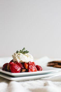 Vanilla Roasted Strawberries with Chocolate Graham Crackers + Mascarpone Whipped Cream